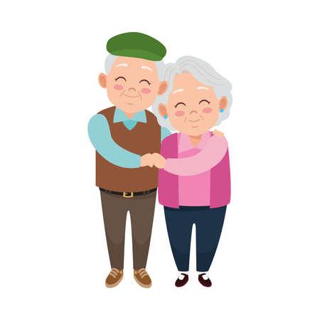 cute happy grandparents couple avatars characters vector illustration design