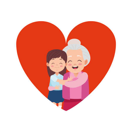 cute happy grandmother with granddaughter in heart vector illustration design