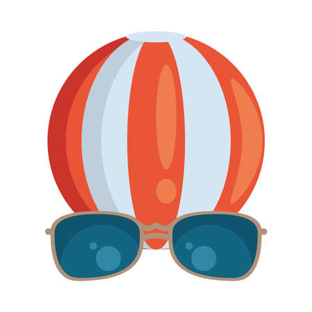 balloon beach sport accessory and sunglasses vector illustration design