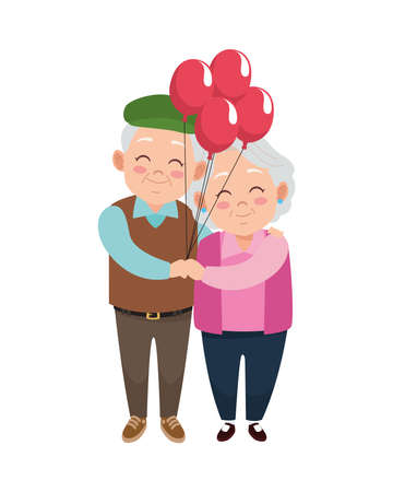 cute happy grandparents couple with balloons helium characters vector illustration design Illustration