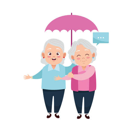 cute happy grandmothers with umbrella avatars characters vector illustration design