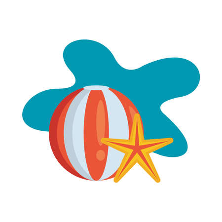 balloon beach sport with starfish vector illustration design