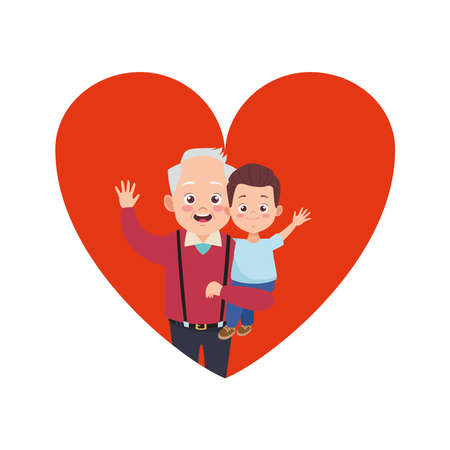 happy old grandfather with little grandson in heart characters vector illustration design