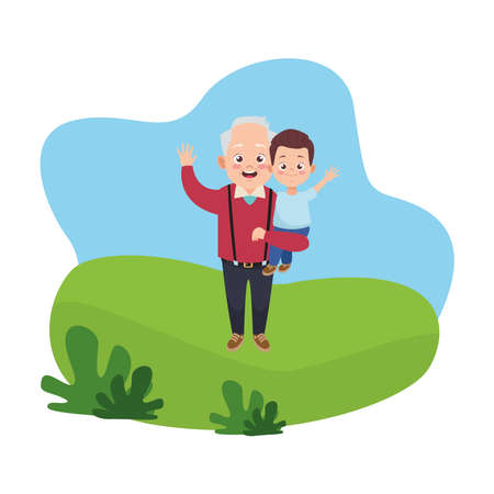 happy old grandfather with little grandson characters vector illustration design