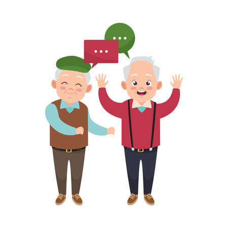 happy old grandfathers with speech bubbles avatars characters vector illustration design