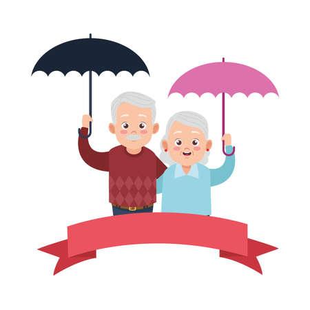 cute happy grandparents couple with umbrellas avatars characters vector illustration design