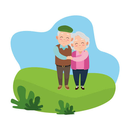 cute happy grandparents couple avatars characters vector illustration design Ilustração