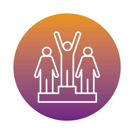 winners champion in podium avatars figures block style vector illustration design