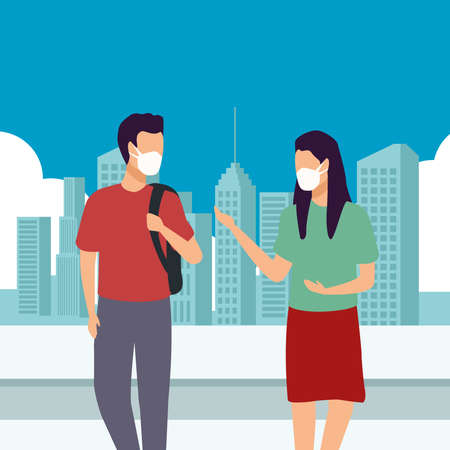 young couple wearing medical masks on the city vector illustration design Stock Illustratie