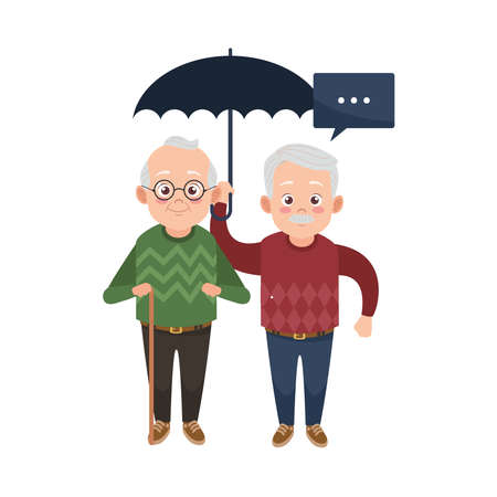 happy old grandfathers with umbrella avatars characters vector illustration design