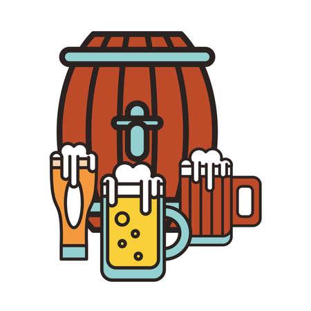 fresh beer jars and wooden barrel drinks icons vector illustration design