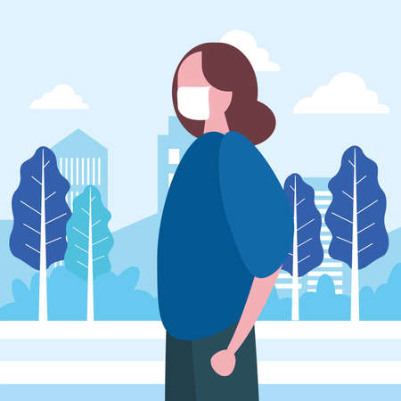 young woman wearing medical mask in the park vector illustration design