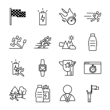 bundle of runners and tracks set icons vector illustration design Vettoriali
