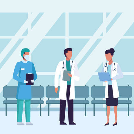 group of doctors wearing medical masks inside of waitroom vector illustration design Stock Illustratie