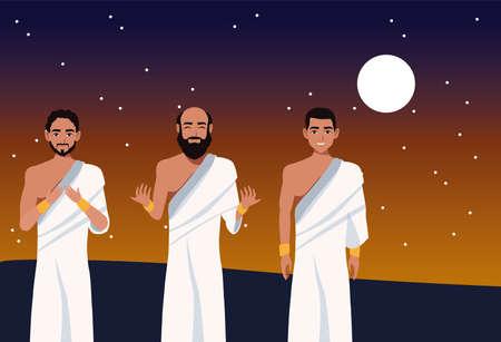 hajj mabrour celebration with group islamic pilgrims at night vector illustration design