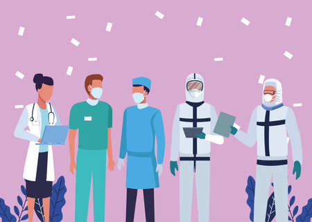group of doctors wearing medical masks characters vector illustration design Stock Illustratie