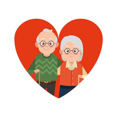 cute happy grandparents couple in heart avatars characters vector illustration design Illustration
