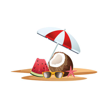 fresh coconut cocktail with umbrella and watermelon vector illustration design