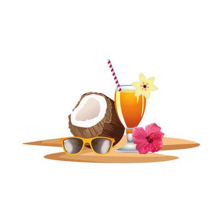 fresh coconut cocktail summer with umbrella and sunglasses icon vector illustration design