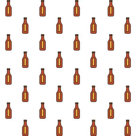 fresh beers bottles drinks pattern background vector illustration design Ilustração