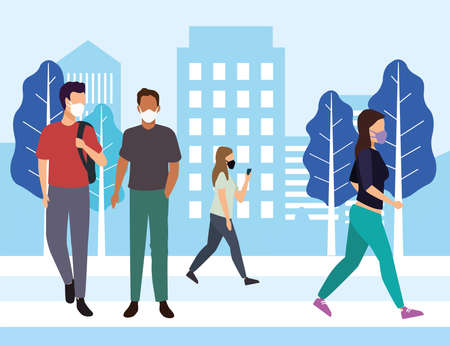 group of young people wearing medical masks on the city vector illustration design Stock Illustratie
