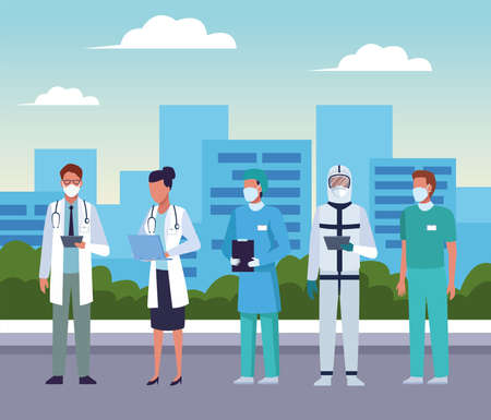 group of doctors wearing medical masks on the city vector illustration design Stock Illustratie