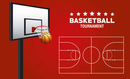 basketball sport poster with ball and basket vector illustration design