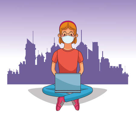 woman wearing medical mask and laptop for stay connected vector illustration design Stock Illustratie