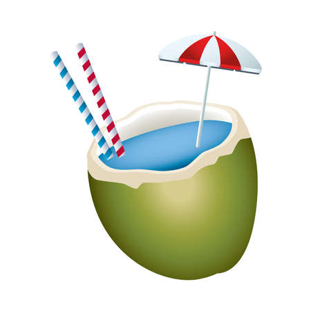fresh coconut cocktail summer icon vector illustration design