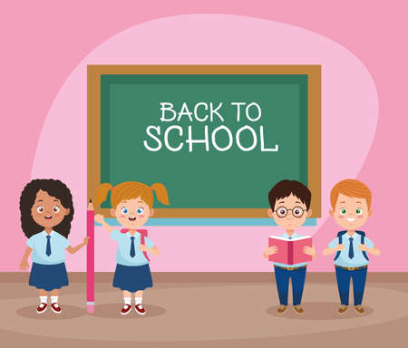 little students with uniforms in the classroom characters vector illustration design