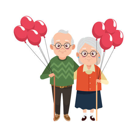 cute happy grandparents couple with balloons helium characters vector illustration design Ilustração