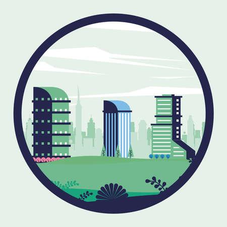 city minimal cityscape scene in circular frame vector illustration design