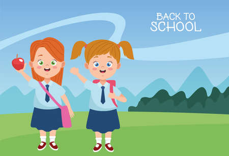 little students girls with uniforms characters vector illustration design