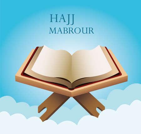 hajj mabrour celebration with koran sacred book vector illustration design