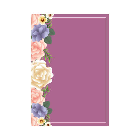 beautiful flowers and leafs decoraive frame with purple background vector illustration design Иллюстрация