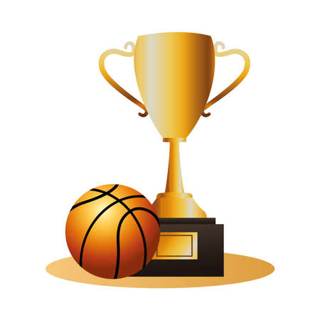 basketball balloon sport with trophy cup vector illustration design