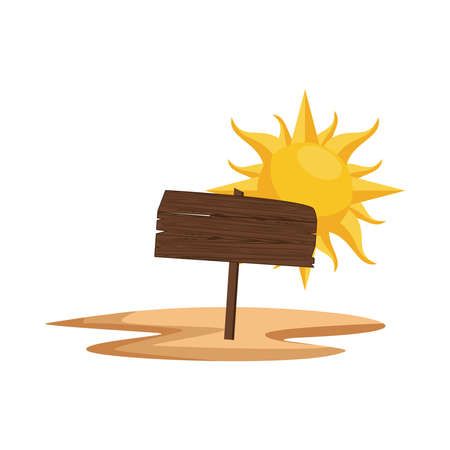 label wooden signal and summer sun vector illustration design
