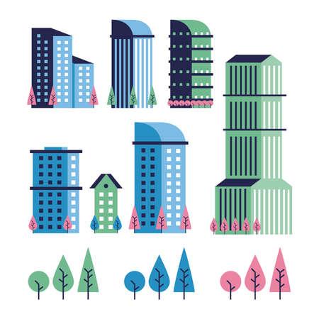 city minimal scene set icons vector illustration design