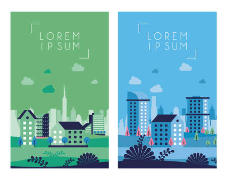 city minimal cityscape scenes frames vector illustration design Vettoriali