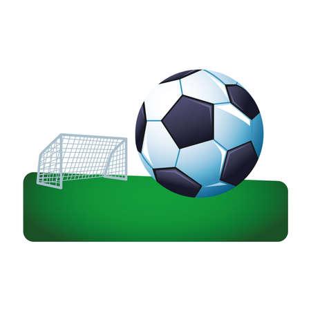 soccer balloon sport in camp championship vector illustration design Ilustrace