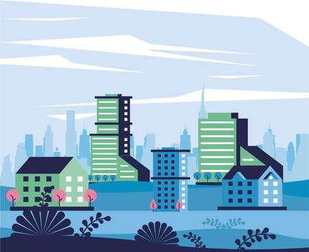 city minimal cityscape scene frame vector illustration design Vettoriali