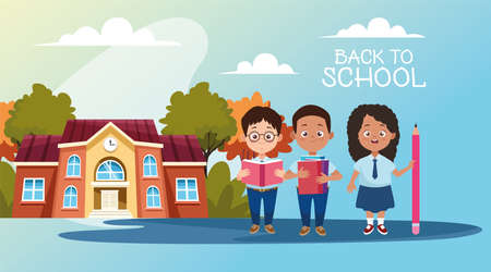 little students with uniforms in the school characters vector illustration design
