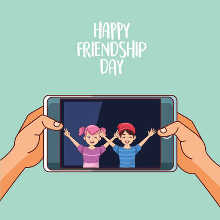 happy friendship day celebration with kids couple in smartphone vector illustration design