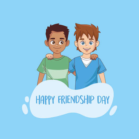 happy friendship day celebration with boys couple vector illustration design 写真素材 - 151083003