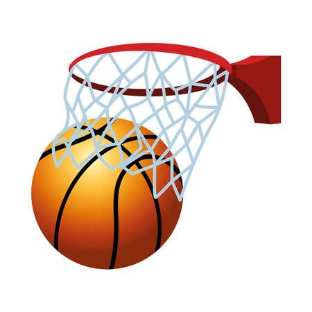 basketball ball sport with basket vector illustration design