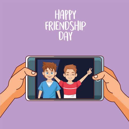 happy friendship day celebration with boys couple vector illustration design