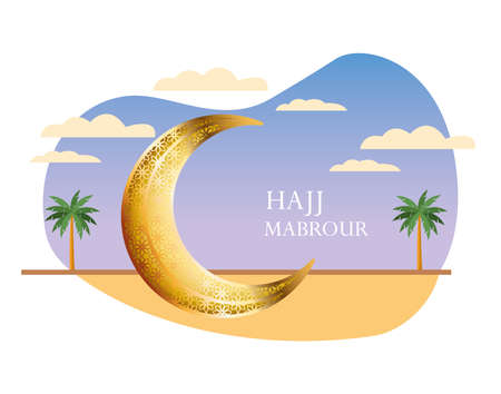hajj mabrour celebration with golden moon crescent vector illustration design
