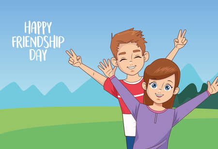 happy friendship day celebration with kids couple vector illustration design 写真素材 - 151085072