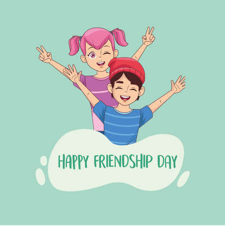 happy friendship day celebration with kids couple vector illustration design 写真素材 - 151087373