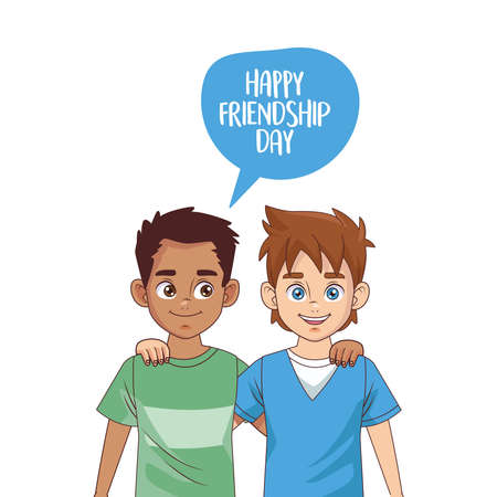 happy friendship day celebration with boys couple vector illustration design 写真素材 - 151087376